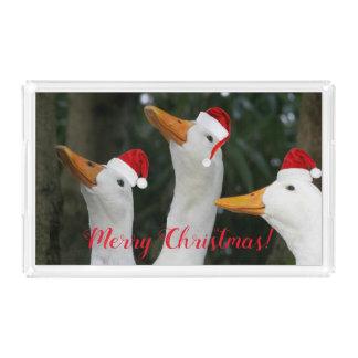 Santa Ducks Holiday Acrylic Tray
