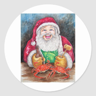 Santa eating steamed crabs classic round sticker