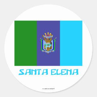 Santa Elena flag with Name Round Sticker