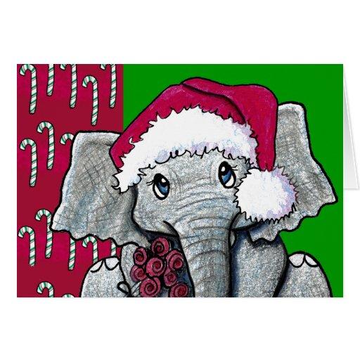 Santa Elephant Greeting Cards