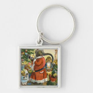 Santa Elephant Celebrates an Animal Christmas Silver-Colored Square Key Ring