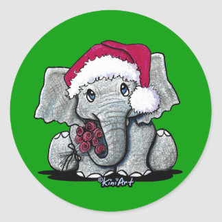 Santa Elephant Stickers