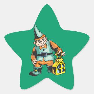 Santa Elf and Lantern Star Sticker