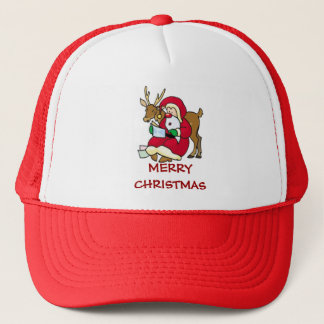 santa elf and reindeer trucker hat