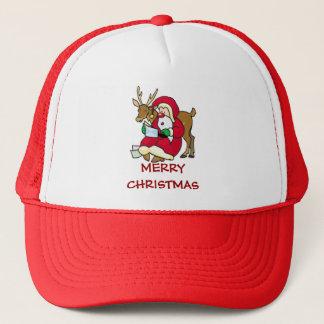 santa elf and reindeer trucker hat