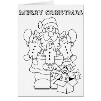 Santa & Elf Christmas Colour-In Card
