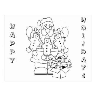 Santa & Elf Christmas Colour-In Post Cards