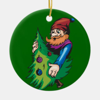 Santa Elf Holding Christmas Tree Round Ceramic Decoration