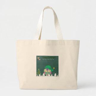 Santa Elf Owl Christmas gift Jumbo Tote Bag