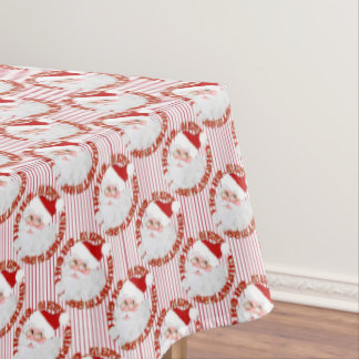 Santa Face Circles, Red Stripes-TABLECLOTH 60x84 Tablecloth
