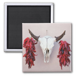 Santa Fe Cow Skull with Peppers Fridge Magnets