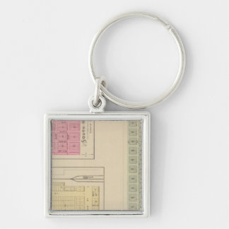 Santa Fe, Dalton, and South Haven, Kansas Silver-Colored Square Key Ring