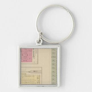 Santa Fe, Dalton, and South Haven, Kansas Silver-Colored Square Key Ring