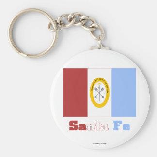 Santa Fe flag with name Basic Round Button Key Ring