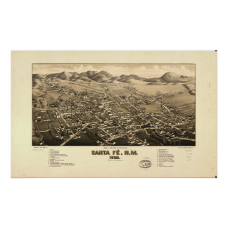 Santa Fe New Mexico 1882 Antique Panoramic Map Poster