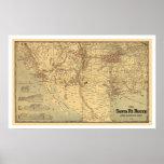 Santa Fé Railroad Route Map 1888 Posters