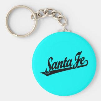 Santa Fe script logo in black Basic Round Button Key Ring