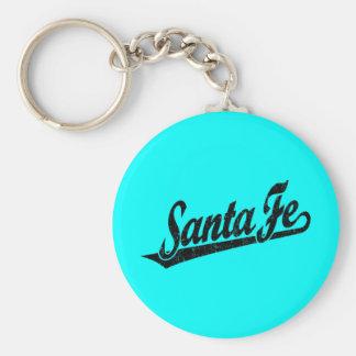 Santa Fe script logo in black distressed Basic Round Button Key Ring