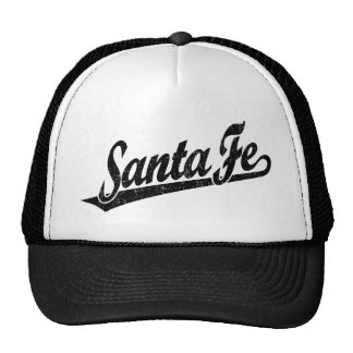 Santa Fe script logo in black distressed Hats