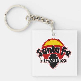 Santa Fe Sun Single-Sided Square Acrylic Key Ring