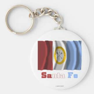 Santa Fe waving flag with name Basic Round Button Key Ring