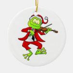 Santa Fiddle Frog Ornament