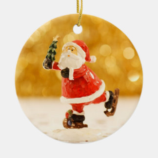 Santa Figurine Ice Skating Christmas Ornament