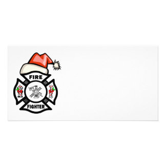 Santa Firefighter Picture Card