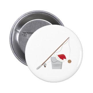 Santa Fishing 6 Cm Round Badge