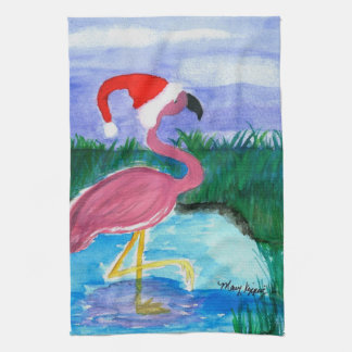 Santa Flamingo art kitchen towel