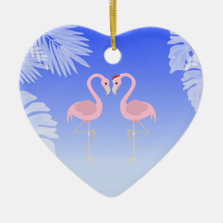 Santa Flamingo Beach Love Christmas Ornament