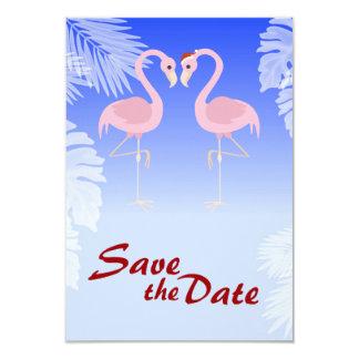 Santa Flamingo Christmas Wedding Save the Date 9 Cm X 13 Cm Invitation Card