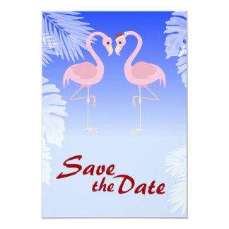 Santa Flamingo Christmas Wedding Save the Date Card