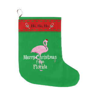 "Santa Flamingo, ""Merry Christmas from Florida"" Large Christmas Stocking"