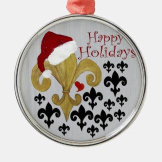Santa Fleur de lis black and gold Christmas Christmas Ornament