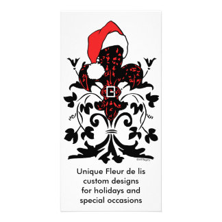 Santa Fleur de lis (red) Customized Photo Card