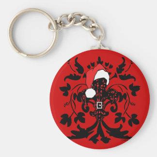 Santa Fleur de lis red Keychain