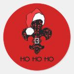 Santa Fleur de lis (red) Round Sticker