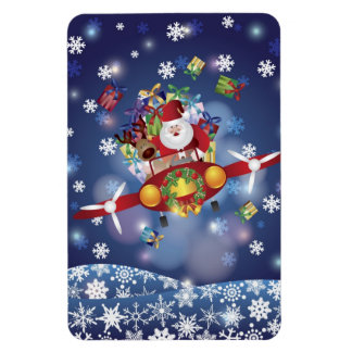 Santa Flying Airplane Premium Flexi Magnet