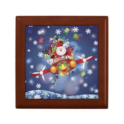 Santa Flying Antique Aircraft Giftbox Jewelry Boxes
