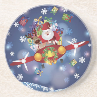 Santa Flying Old Aircraft Coaster