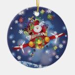 Santa Flying Old Plane Ornament