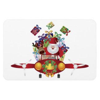Santa Flying Vintage Airplane Premium Flexi Magnet