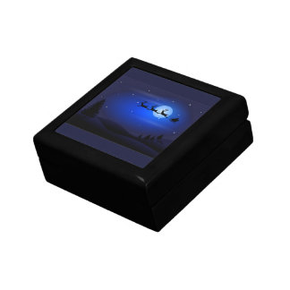 Santa Flys At Night Gift Box