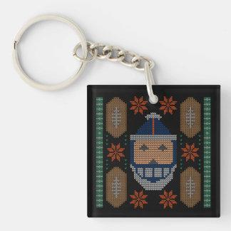 Santa Football Blue Orange Ugly Christmas Sweater Double-Sided Square Acrylic Key Ring