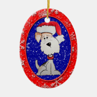 Santa Fox Terrier Christmas Ornament