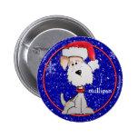 Santa Fox Terrier (Customisable) Badge