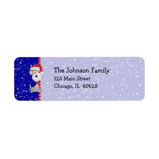 Santa Fox Terrier (Customisable) Return Address Label