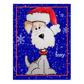 Santa Fox Terrier (Customizable) Post Cards