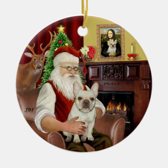 Santa-French Bulldog 1 Christmas Ornament